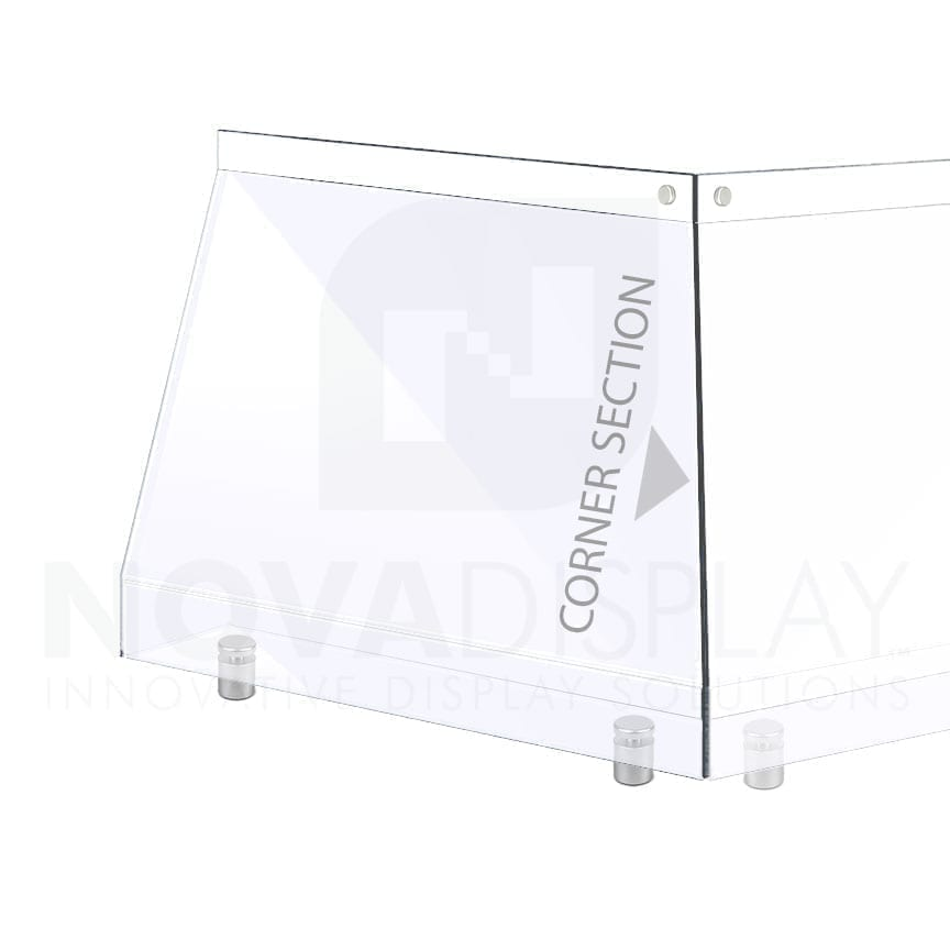 Countertop Acrylic Sneeze Guard / Modular – Mounted with Standoff Supports / Corner Section