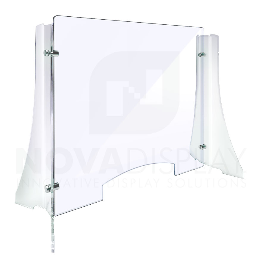 Economy Countertop Free-standing Clear Acrylic Sneeze Guard / Protection Shield for Offices and Stores.