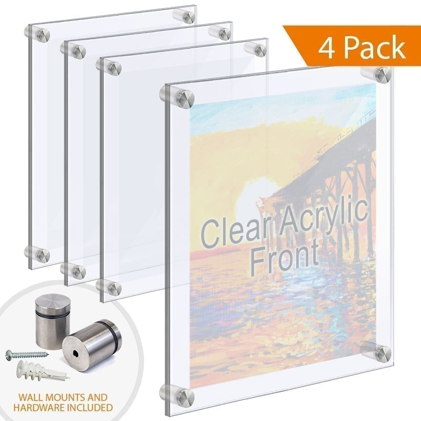 Economy Clear Large Acrylic Frames Wall Mounted with Standoffs
