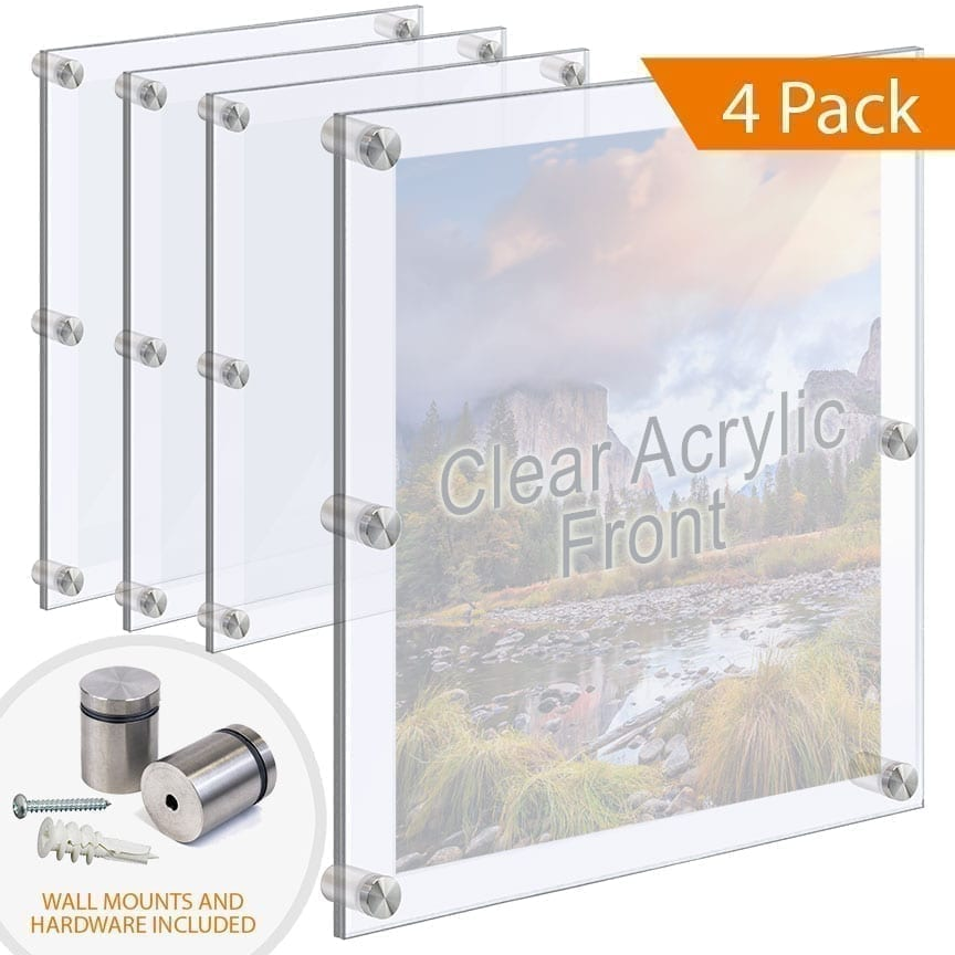 Economy Oversize Acrylic Frames Wall Mounted with Standoffs