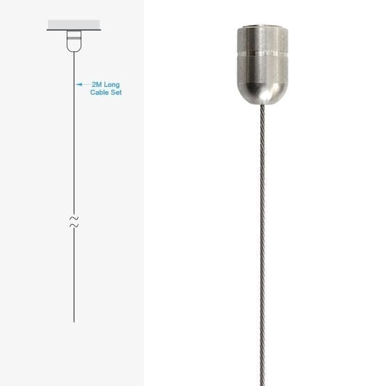 2.0M (6′ 5-3/4″) Long 1.5mm (1/16″) Diameter Cable with Ceiling Fixing | #303 Stainless Steel