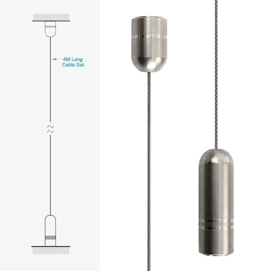 4.0M (13′ 1-1/2″) Long 1.5mm (1/16″) Dia. Cable with Ceiling to Floor Fixings | #303 Stainless Steel