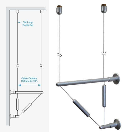 C2CW-15 Double-Cable Assembly with Ceiling Fixings and Wall Brackets