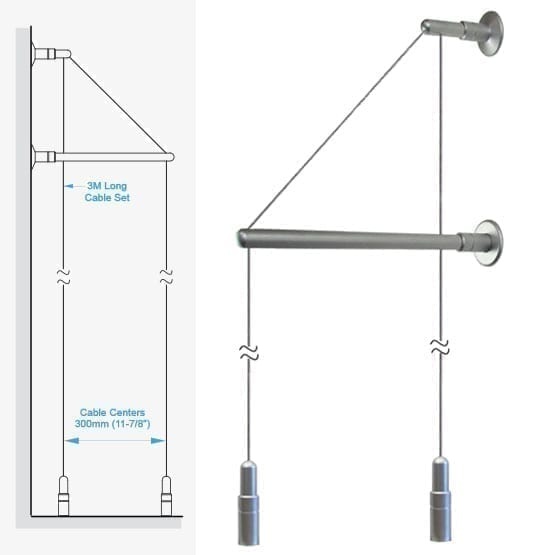 """C2WF-30 3.0M (9' 10"""") Long 1.5mm (1/16"""") Diameter Double-Cable Assembly with Wall Brackets and Floor Fixings"""