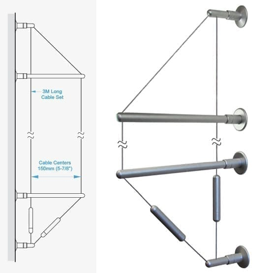 """C2WW-15 3.0M (9' 10"""") Long 1.5mm (1/16"""") Diameter Double-Cable Assembly with Wall-to-Wall Brackets"""