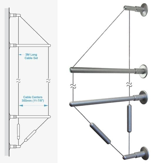 """C2WW-30 3.0M (9' 10"""") Long 1.5mm (1/16"""") Diameter Double-Cable Assembly with Wall-to-Wall Brackets"""