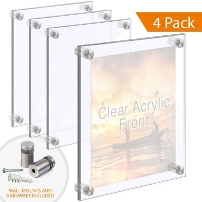 1/2″ Thick Acrylic Block Frames with Standoffs / Wall Mounted