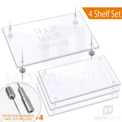 Cable Suspended 3/8″ Thick Acrylic Shelf Display Bundle w/Clear Slotted / Removable Shelves