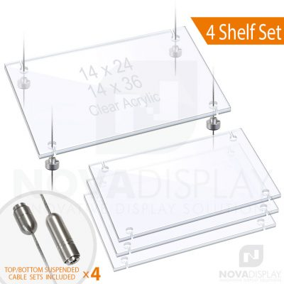 Cable Suspended 3/8″ Thick Acrylic Shelf Display Bundle w/Clear Slotted / Removable Shelves (*Stainless Steel)