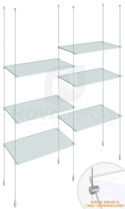 KSI-009PLEX Cable Suspended Acrylic Shelving Display Kit