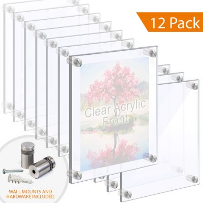 1/2″ Thick Acrylic Block Frames with Standoffs / Wall Mounted.