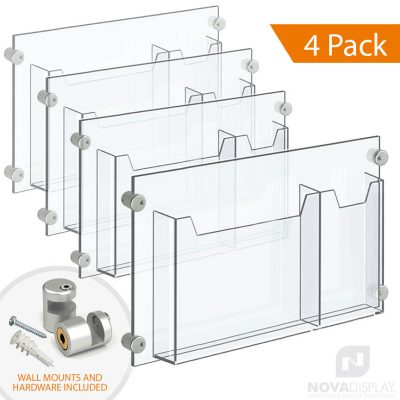 Wall Mounted Acrylic Leaflet Dispenser – Double Pocket. Insert Size: Letter–Tri-Fold / QTY 4