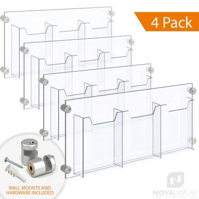 Acrylic Leaflet Dispenser – Treble Pocket / Edge-Grip Wall Mounted. Insert Size: 6.5″W x 8.5″H Bi-Fold