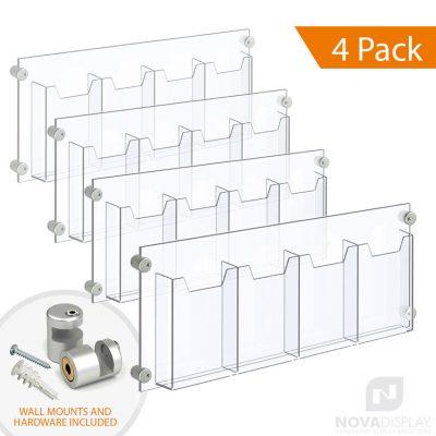 Acrylic Leaflet Dispenser – Four Pockets / Edge-Grip Wall Mounted. Insert Size: 6.5″W x 8.5″H Bi-Fold / QTY 4