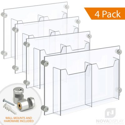 Acrylic Leaflet Dispenser – Double Pocket / Edge-Grip Wall Mounted. Insert Size: 8.5″W x 11″H Letter / QTY 4