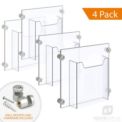 Acrylic Leaflet Dispenser – Single Pocket / Edge-Grip Wall Mounted. Insert Size: 8.5″W x 11″H Letter / QTY 4