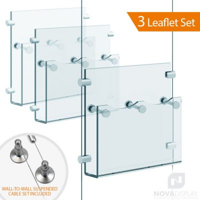 Cable Suspended Acrylic Literature / Brochure Holder – Double Pocket. Insert Size: 3.5″W x 8.5″H Tri-Fold