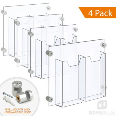 Acrylic Leaflet Dispenser – Double Pocket / Edge-Grip Wall Mounted. Insert Size: 3.5″W x 8.5″H Tri-Fold / QTY 4