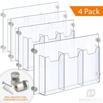Acrylic Leaflet Dispenser – Treble Pocket / Edge-Grip Wall Mounted. Insert Size: 3.5″W x 8.5″H Tri-Fold / QTY 4
