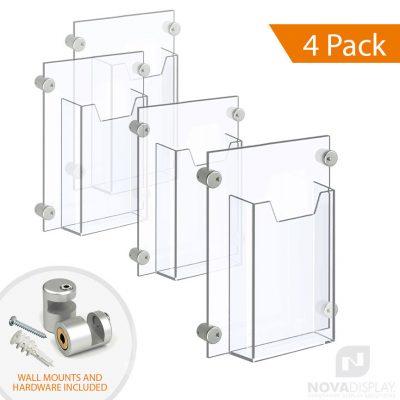 Acrylic Leaflet Dispenser – Single Pocket / Edge-Grip Wall Mounted. Insert Size: 3.5″W x 8.5″H Tri-Fold / QTY 4