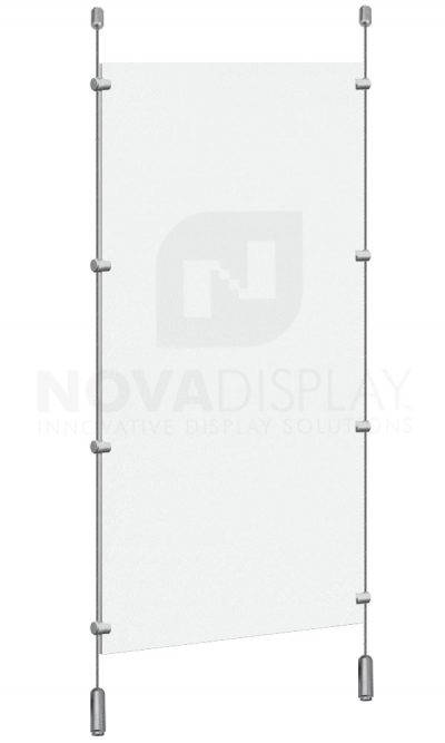 Cable Suspended Partition with Colorless/Frosted Acrylic Panel