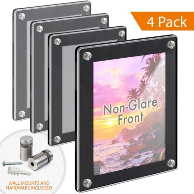 Black Acrylic Poster Frames with Standoffs / Round Corners