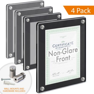 Black Acrylic Wall Frames with Standoffs / Round Corners