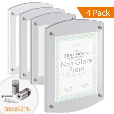 Satin-Frost Acrylic Wall Frames with Standoffs / Arched Top and Bottom